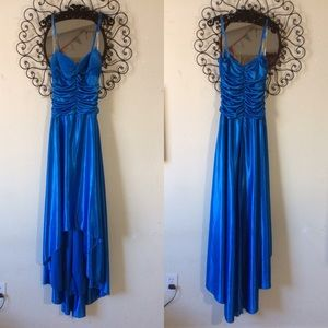 City Triangle Vibrant Blue Hi-Low Maxi Formal Gown